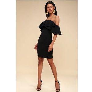 Lulus Aurelia Black Off-the-Shoulder Midi Dress